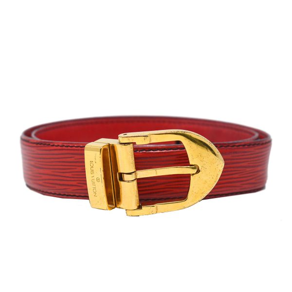 Louis Vuitton Red Epi Leather Ceinture 85 Gold Buckle Belt