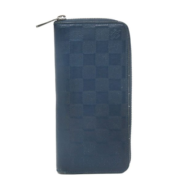 Louis Vuitton Zippy Navy Blue Damier Infini Leather Vertical Wallet