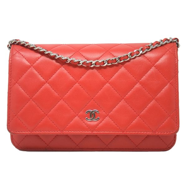 Chanel Red WOC Wallet On Chain Lambskin Leather Crossbody Bag