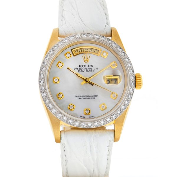 Rolex 18048 Single Quick Day-Date MOP Dial Diamond Bezel President Watch
