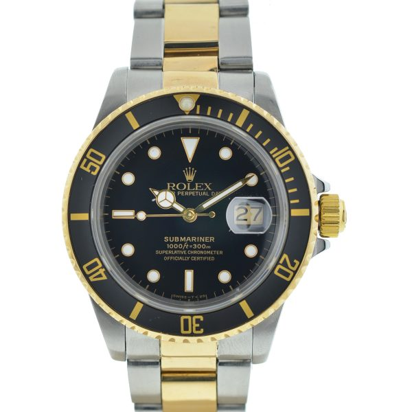 Rolex 16803 Two-Tone Submariner Black Dial Yellow Gold Stainless Steel Watch