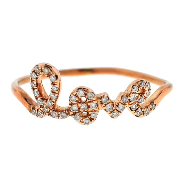 "Sydney Evan 14k Rose Gold Pave Diamond ""LOVE"" Ring"