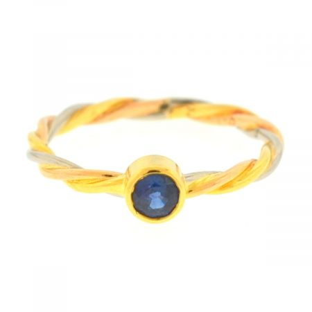 Cartier 18k Tricolor Sapphire Wire Ladies Ring