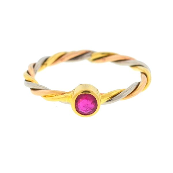 Cartier 18k Tricolor Ruby Wire Ladies Ring