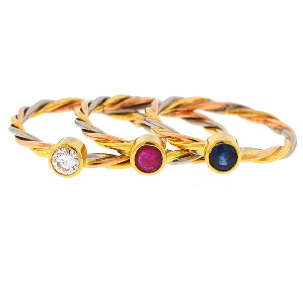 Cartier 18k Tricolor Sapphire Ruby & Diamond Stackable Rings