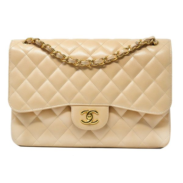 Chanel Beige Double Flap Jumbo Caviar Leather Crossbody Bag