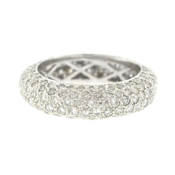 18k White Gold Pave Diamond Eternity Band Ring