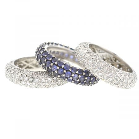18k White Gold Pave Diamond & Tanzanite Eternity Band Three Stackable Rings