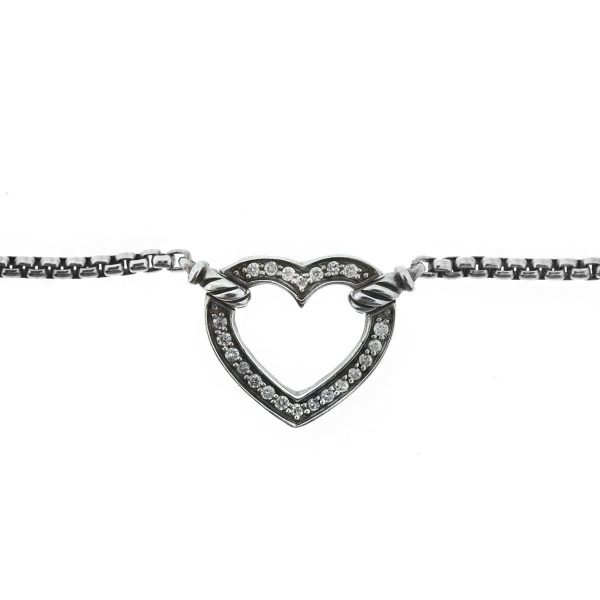 David Yurman Cable Collectibles Heart Station Diamond Sterling Silver Necklace