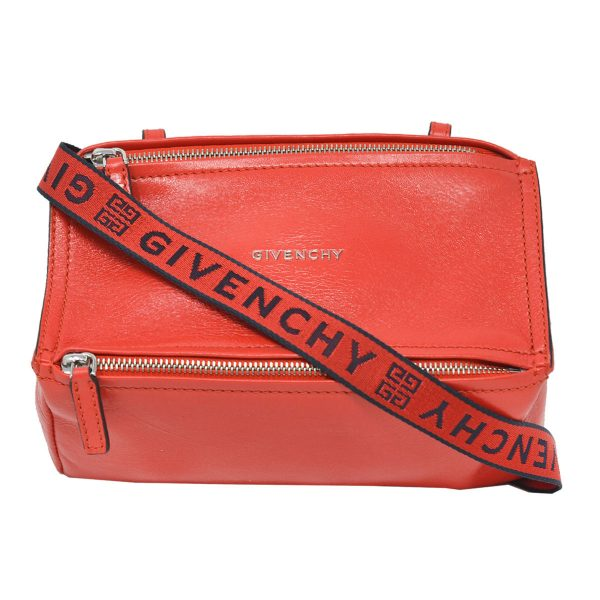 Givenchy Red Leather Pandora Mini Crossbody Bag