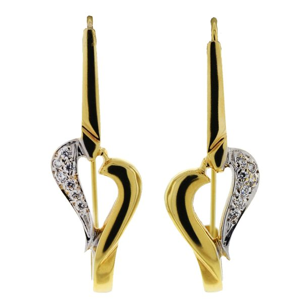 14k Yellow Gold Half Diamond Heart Wire Earrings Approx .14 cts