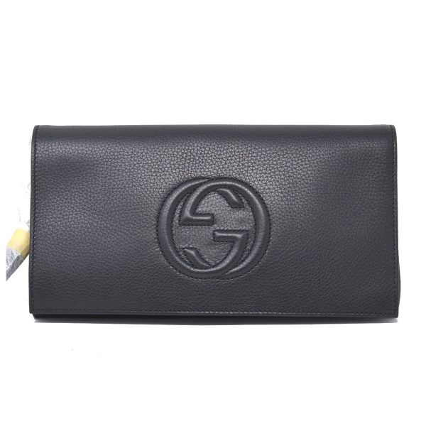 Gucci Black Soho Leather Envelope Clutch Tassel Handbag