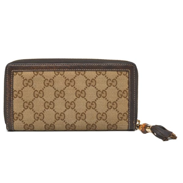 Gucci Brown GG Monogram Bamboo Tassel Zip Around Wallet