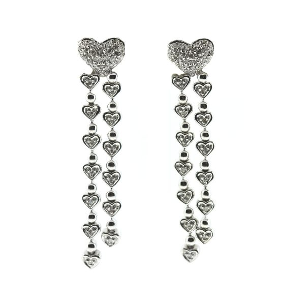 14k White Gold Heart Diamond Double Drop Dangle Earrings .60 Cts