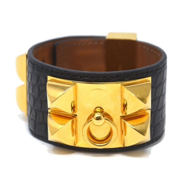 Hermes Black Crocodile Collier De Chien CDC GHW Bracelet