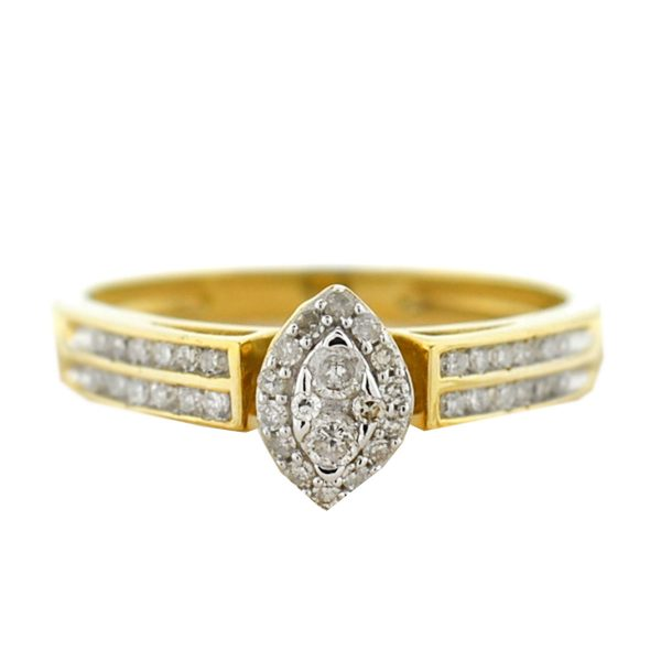 10k Yellow Gold Marquise Diamond Center with Side Diamonds Engagement Ring .48ct