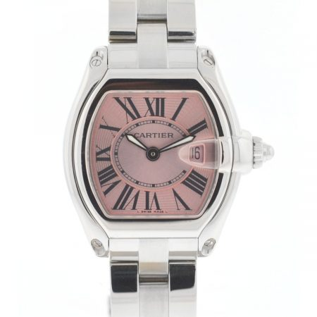 Cartier Roadster 2675 Pink Dial Stainless Steel Ladies Quartz Watch