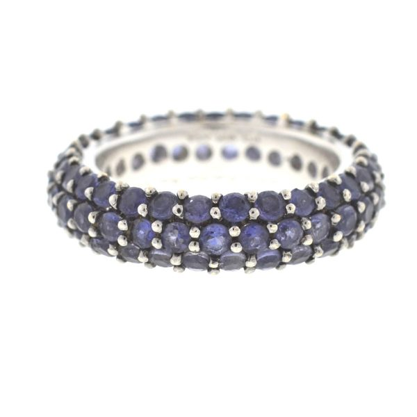 18k White Gold Pave Tanzanite Eternity Band Ring