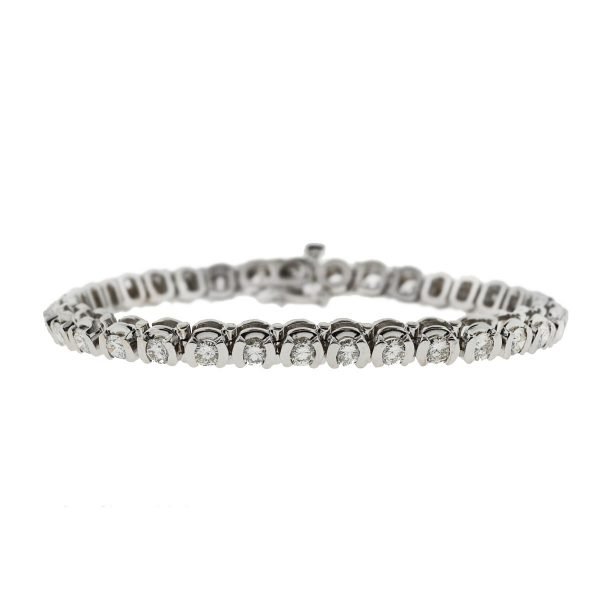 14k White Gold Diamond Tennis Bracelet 4 Cts.