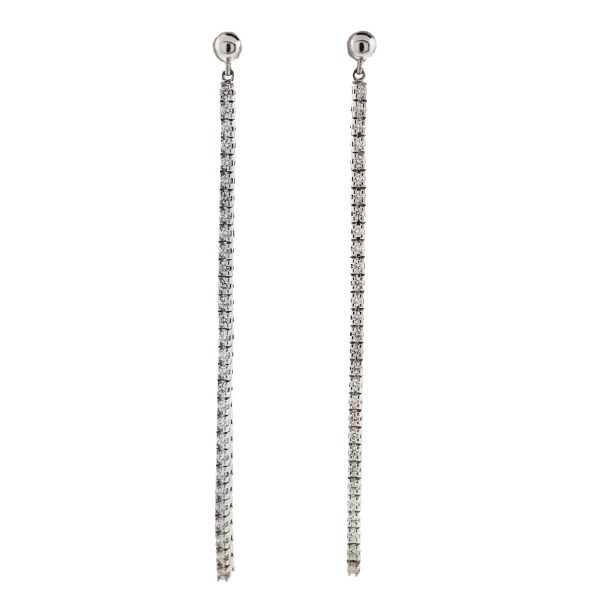 18k White Gold Tennis Style Diamond Drop Earrings .98 Cts