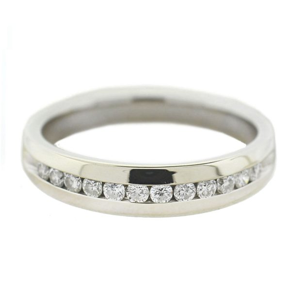 14k White Gold Diamond Wedding Band .30 Cts