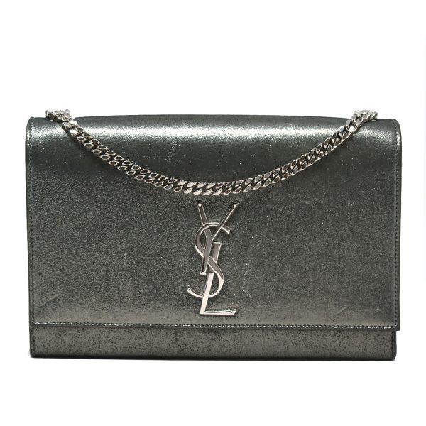 YSL Saint Laurent Monogram Kate Medium Silver Metallic Leather Shoulder Bag
