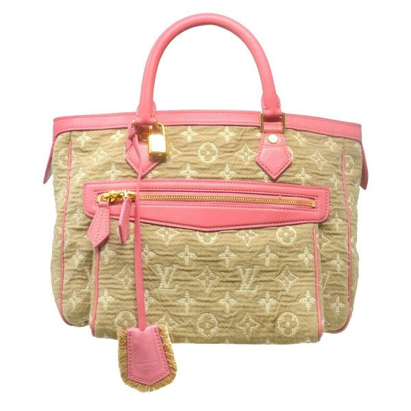 Louis Vuitton Pink Leather Cabas Sabbia Monogram MM Handbag