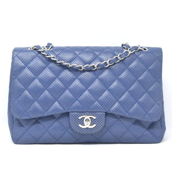 Chanel Classic Blue Perforated Lambskin Leather Single Flap Shoulder Bag