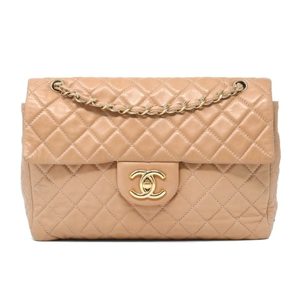 Chanel Beige Soft Lambskin Leather Maxi Single Flap GHW Shoulder Bag