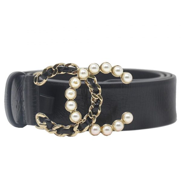 CHANEL CC Black Calfskin Leather Faux Pearl Buckle 80/32 Belt