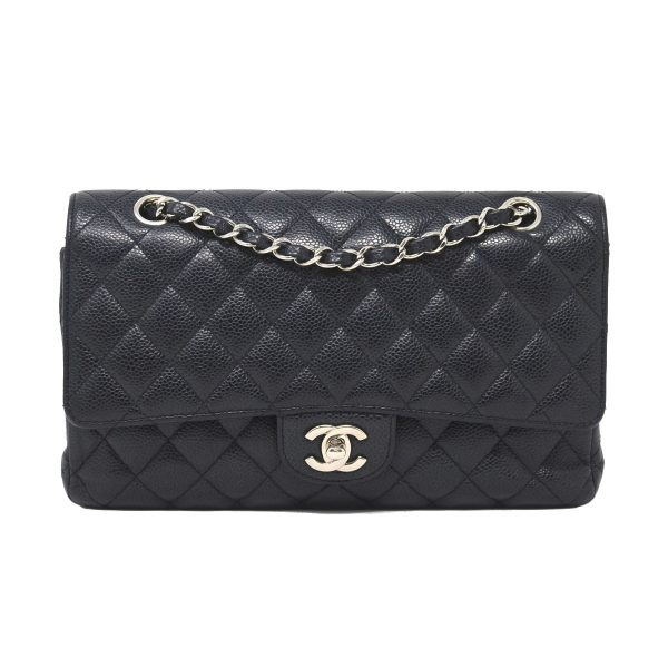 Chanel Classic Black Quilted Caviar Leather Medium Double Flap Shoulder Bag