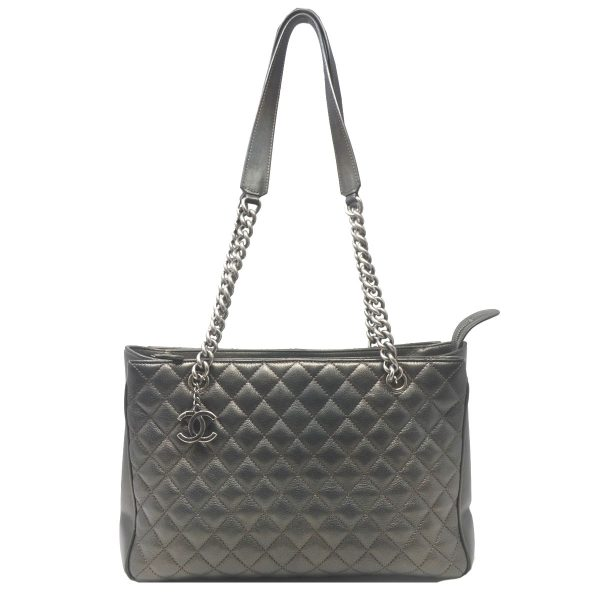 Chanel Rock in Rome Charcoal Goatskin Leather Large Zip Tote Shopping Bag