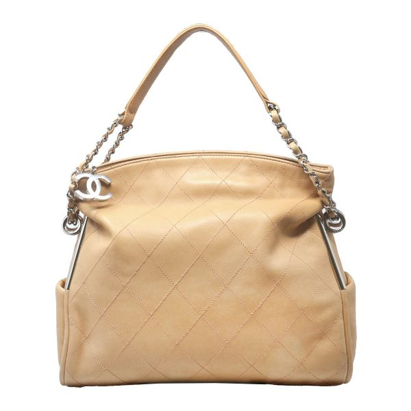 Chanel Beige Quilted Lambskin Soft Leather Medium Shoulder Bag