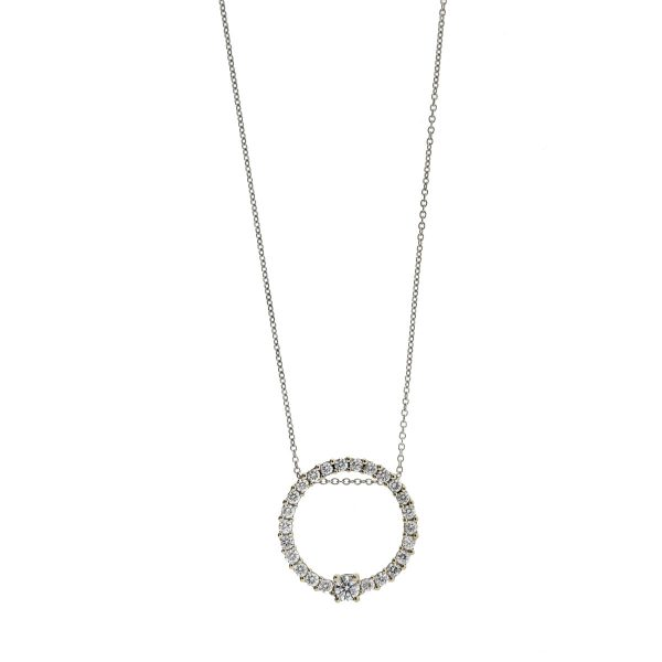 14k White Gold Diamond Circle Pendant Necklace .98 Cts
