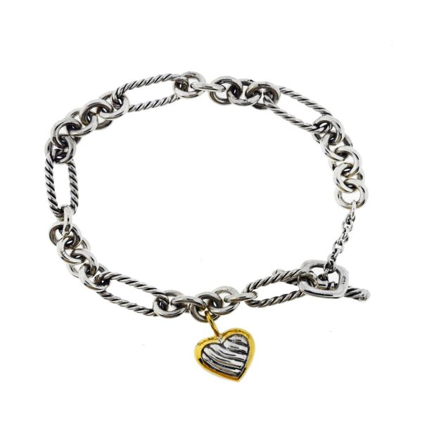 David Yurman 14k Yellow Gold Sterling Silver Cable Link Heart Charm Bracelet