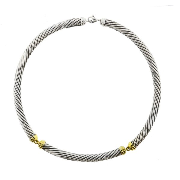 David Yurman Metro 14k Yellow Gold Sterling Silver Choker Necklace