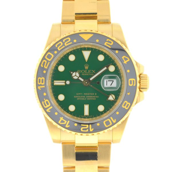 Rolex 116718 GMT-Master II 18k Yellow Gold Green Dial Automatic Men's Watch
