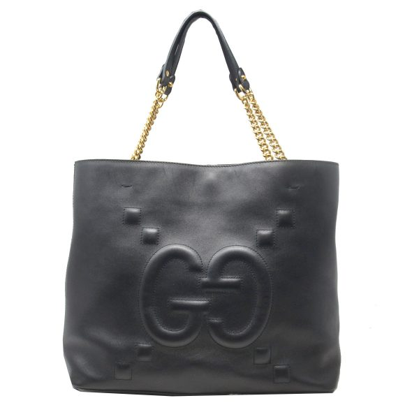 Gucci Black GG Apollo Embossed Leather Tote Shoulder Bag