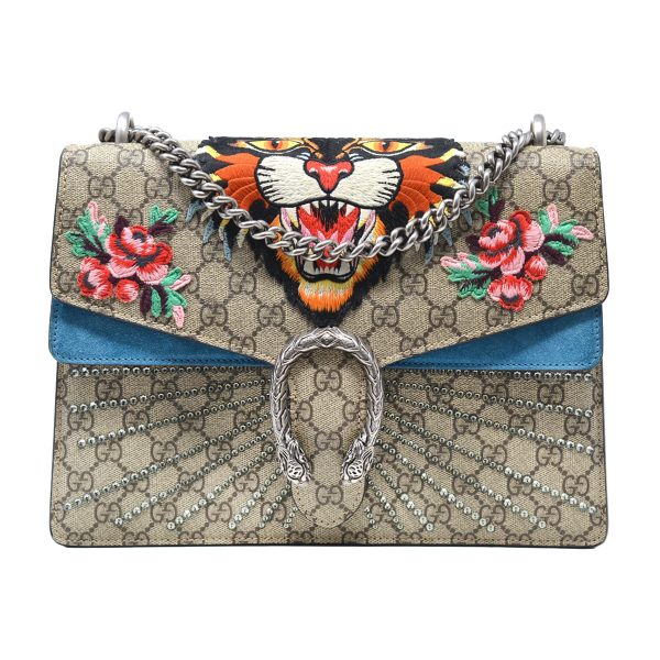 Gucci Dionysus GG Supreme Monogram Angry Tiger Crystal Embroidered Shoulder Bag