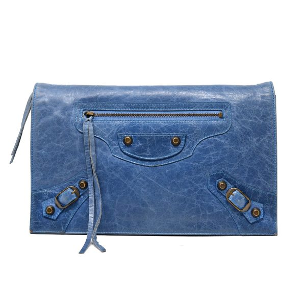 Balenciaga Blue Leather Envelope Clutch Bag