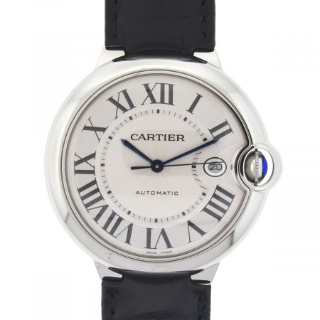 Cartier Silver Ballon Bleu 42mm Stainless Steel Leather Strap Mens Watch