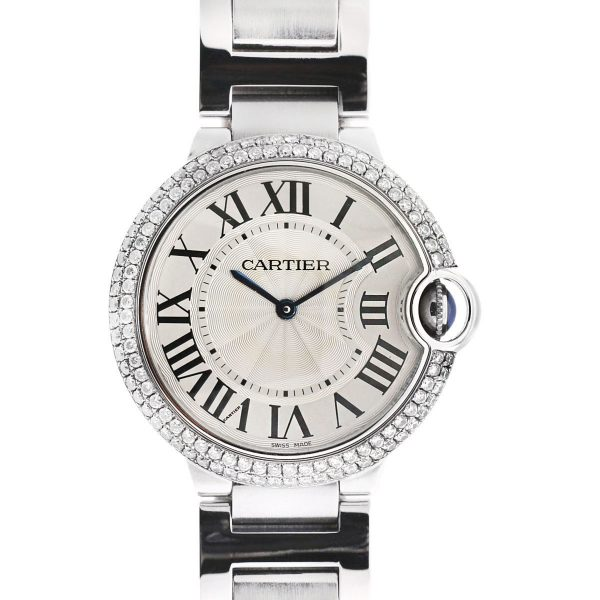 Cartier 3005 Ballon Bleu Stainless Steel Diamond Bezel Watch
