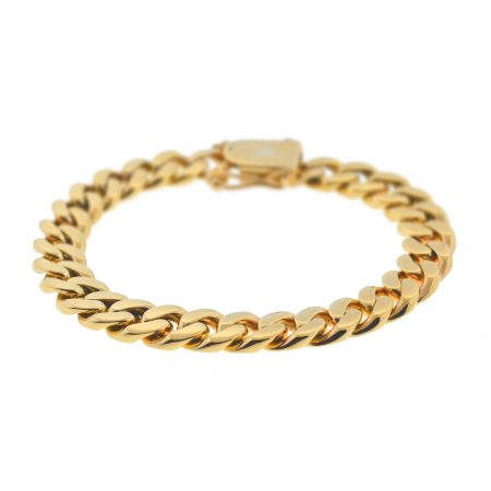14k Yellow Gold Men's Cuban Link Chain Bracelet