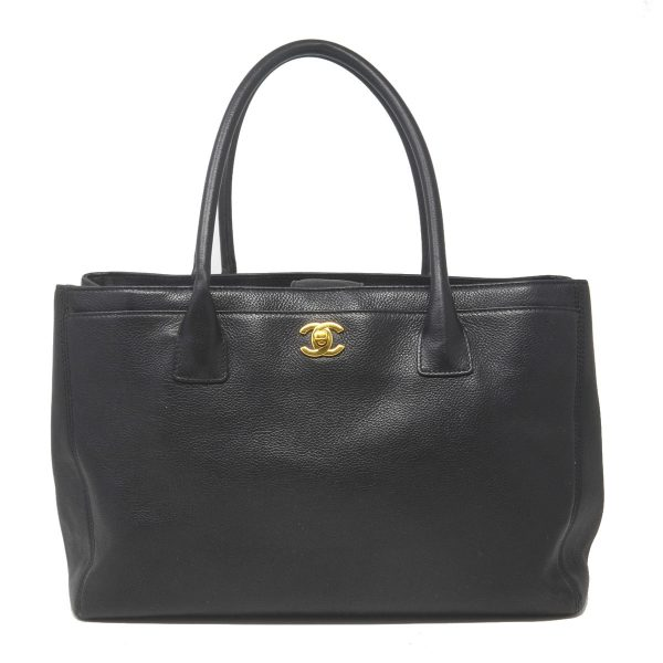 CHANEL Cerf Executive Black Caviar Leather Medium Shopper Tote Bag