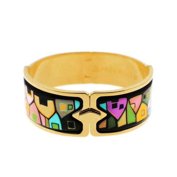 Frey Wille Hundertwasser Gold Plated Enamel Wide Bangle Bracelet