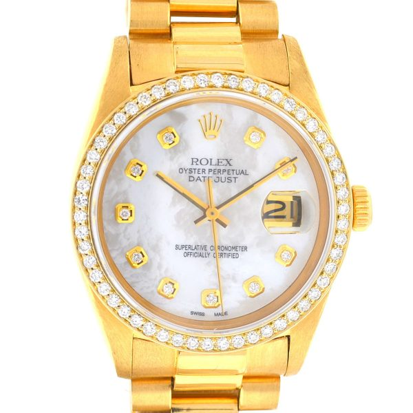 Rolex 16018 Datejust 18k Yellow Gold MOP Diamond Dial Automatic Watch