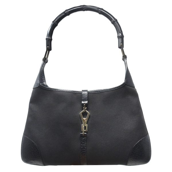 Gucci Black Canvas Jackie O Bamboo Handle Hobo Bag
