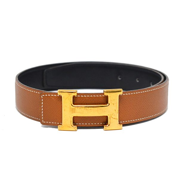 HERMES Brown and Black Leather H Buckle Reversible Belt Size 70