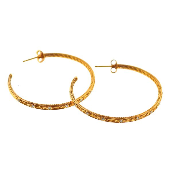 18k Yellow Gold Diamond Hoop Earrings .24 Cts