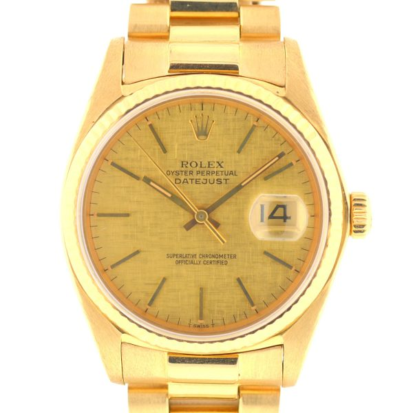 Rolex 16018 Datejust 18k Yellow Gold 36mm Automatic Watch